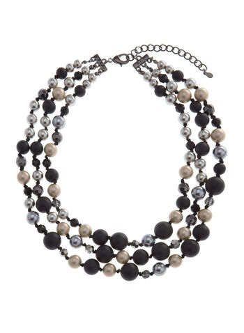 Multi-Tone Beaded Necklace, Black, hi-res