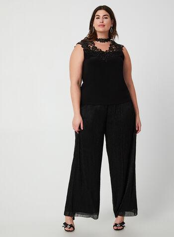 Joseph Ribkoff - Modern Fit Pants, Black,  pants pull-on, wide leg, modern fit, jersey, metallic, mesh, fall 2019, winter 2019