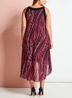 Graphic Print Asymmetric Dress, Red, hi-res