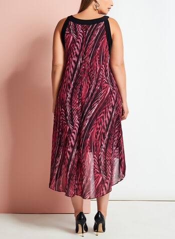 Graphic Print Asymmetric Dress, Red, hi-res