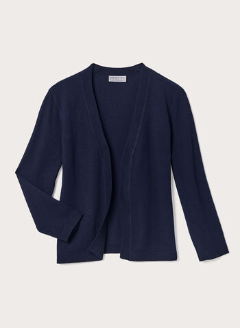 Open Front Elbow Sleeve Bolero, Blue, hi-res
