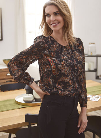 Puffed Sleeve Paisley Print Top, Brown,  fall 2021, shirt, top, blouse, rounded neckline, pleated neckline, long sleeves, puffed sleeves, rounded hem, paisley print, pattern, motif, light, flowy