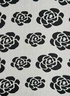 Rose Print Burnout Scarf, Black, hi-res