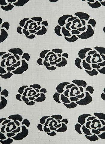 Rose Print Burnout Scarf, Black, hi-res