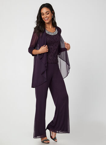 Ensemble de soirée 3 pièces, Violet, hi-res,  automne hiver 2019, ensemble, soirée, haut, sans manches, bille, perle, dentelle, brillant, maille filet, veste, maille filet, pantalon, pull-on, jambe large, taille élastique
