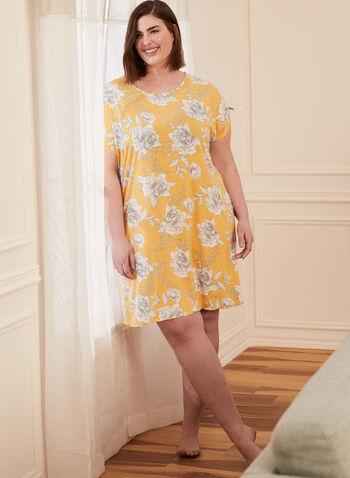 Floral Print Drawstring Detail Nightshirt, Gold,  pyjamas, nightshirt, nightgown, floral, short sleeves, drawstring, spring summer 2021