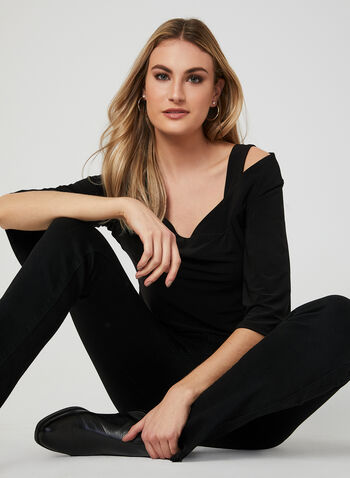 Cold Shoulder Bell Sleeve Top, Black, hi-res