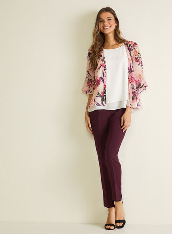 Floral Print Open Front Top, Multi,  top, open front, floral print, chiffon, 3/4 sleeves