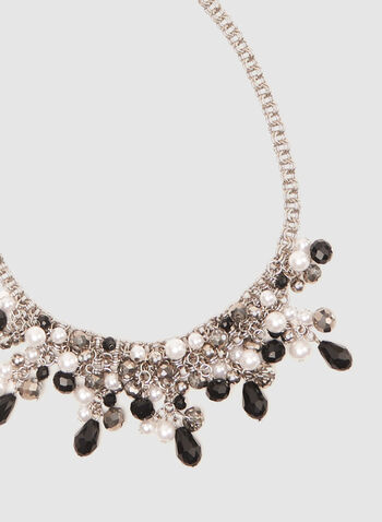 Bead Cluster Necklace, Black, hi-res