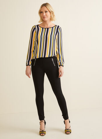 Striped Balloon Sleeve Blouse, Multi,  blouse, stripes, balloon sleeve,keyhole, scoop neck, crepe, spring summer 2020