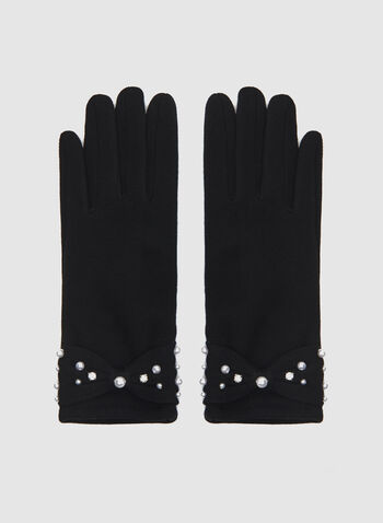 Faux Pearl Detail Knit Gloves , Black, hi-res