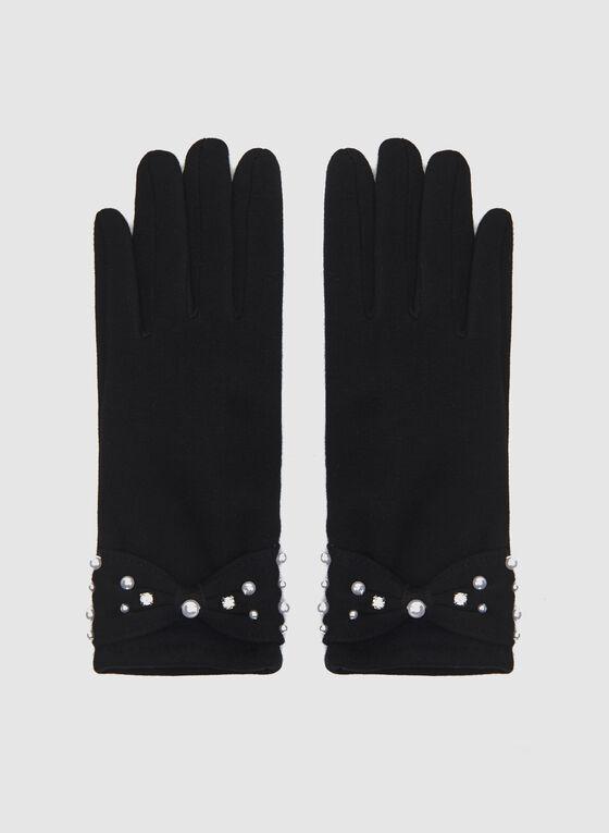 Gants en tricot avec boucle et perles, Noir, hi-res
