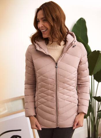 Bernardo - Ecoplume™ Coat, Pink,  fall winter 2020, coats, quilted, synthetic down, Bernardo, hood, Long sleeves