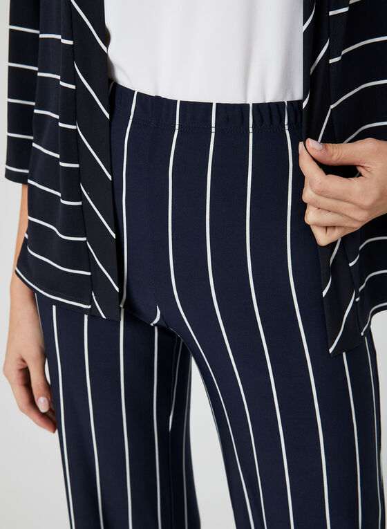 Pantalon coupe moderne rayé à jambe large, Bleu