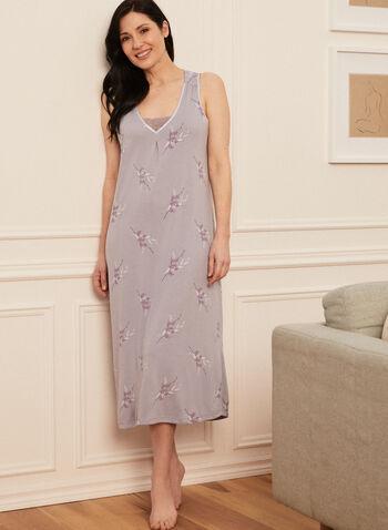 V-Neck Nightgown, Grey,  nightshirt, pyjamas, monochrome, floral, short sleeves, round neck, spring summer 2021