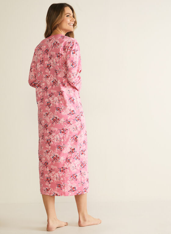 Floral Print Button Detail Nightgown, Multi