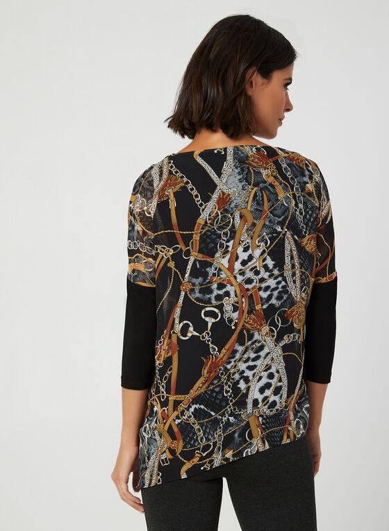 Blouse en mousseline motif chaînes, Noir