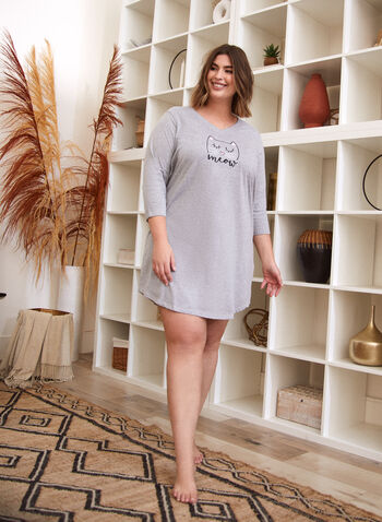 Cat Print Embroidered Nightgown, Grey,  fall 2021, sleepwear, nightgown, nightdress, nightshirt, shirtdress, cat print, embroidered, slogan, meow, fun, v neckline, 3/4 sleeves, rounded hem, mid thigh, length, comfortable, stretch, fabric, heather, finish