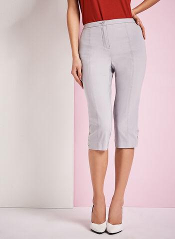 Bengaline Grommet Trim Capri Pants, Silver, hi-res