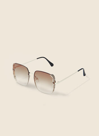 Rounded Square Sunglasses, Gold,  sunglasses, metal, plastic, rounded square, spring summer 2020