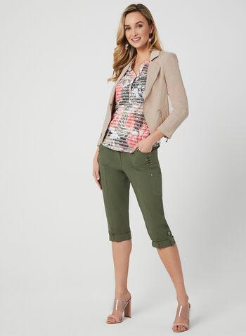 T-shirt fleurs et rayures à strass, Vert, hi-res