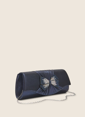 Bow Detail Envelope Clutch, Blue,  bag, evening, clutch, bow, beads, chain, envelope, metallic, spring summer 2020