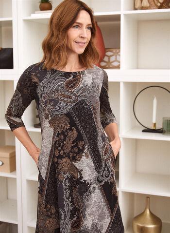 Paisley Print Dress With Pockets, Black,  fall winter 2021, dress, day dress, paisley print, patchwork, boat neck, round neck, jewel neck, 3/4 sleeve, pockets, dress with pockets, knit