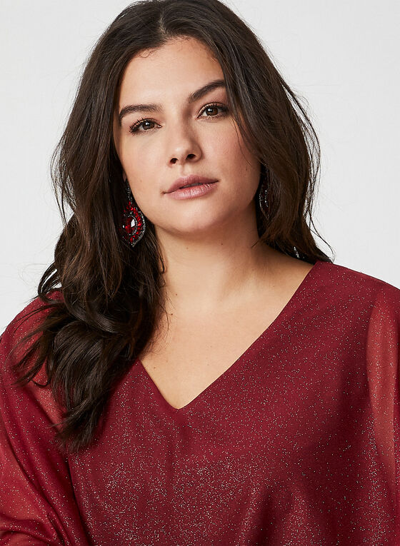 Ombre Metallic Poncho Top, Red