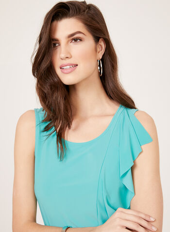 Ruffle Front Sleeveless Top, Blue, hi-res