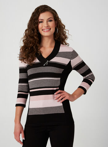 Striped V-Neck Sweater, Black, hi-res,  knit, striped, 3/4 sleeves, fall winter 2019