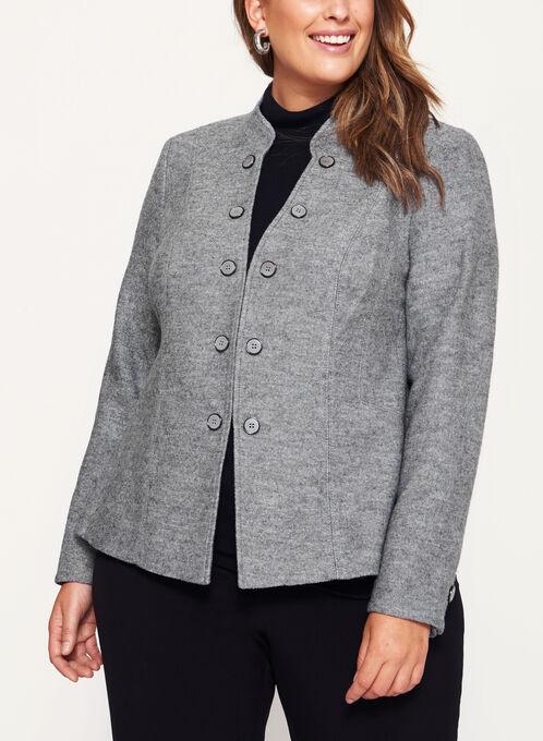 Boiled Wool Jacket , Grey, hi-res