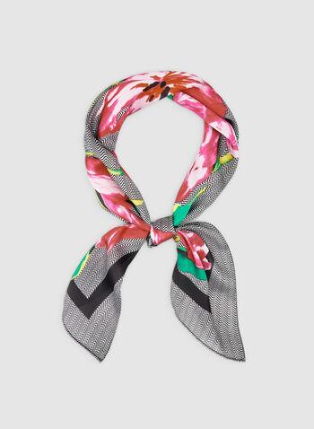 Foulard carré fleuri et chevrons, Noir, hi-res,  foulard, carré, chevrons, fleurs, automne hiver 2019