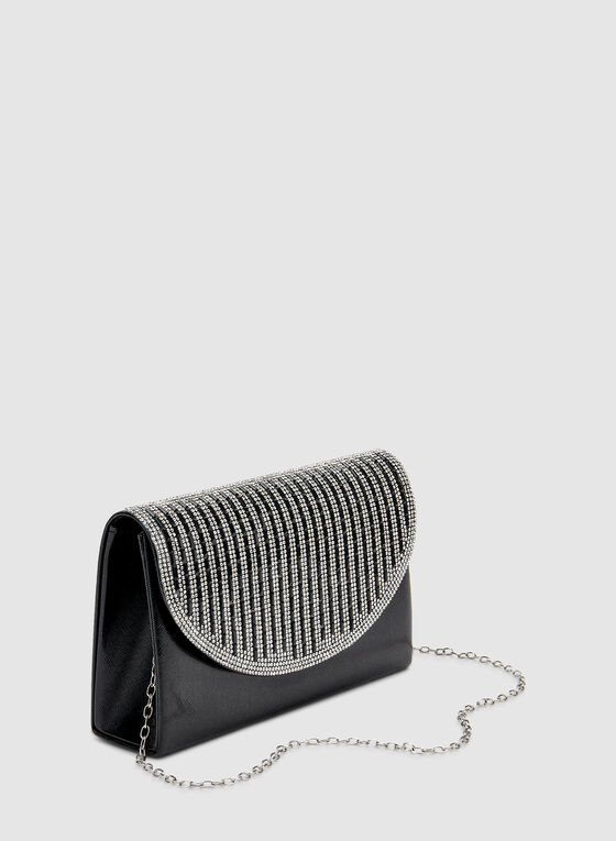 Striped Crystal Clutch , Black
