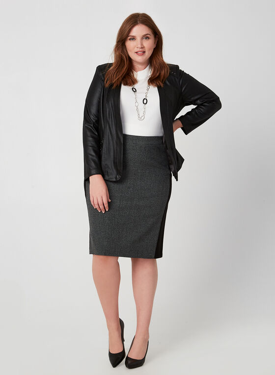 Heather Houndstooth Print Skirt, Black, hi-res
