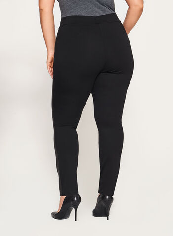 Faux Suede Ponte Leggings, Black, hi-res