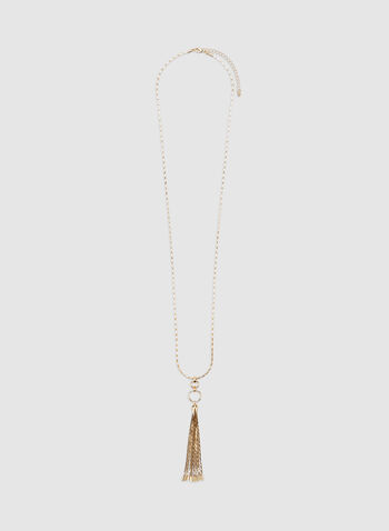 Tassel Pendant Necklace, Gold, hi-res