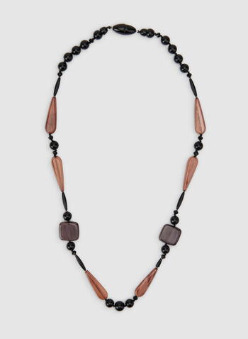 Long Geometric Bead Necklace, Black, hi-res,  beaded necklace, modern necklace