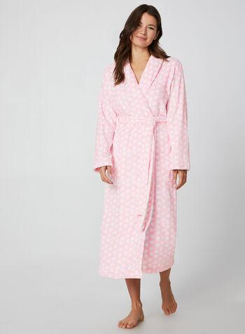 Hamilton - Heart Print Bathrobe, Pink,  Hamilton, sleepwear, pyjama, bathrobe, heart print, fall 2019, winter 2019