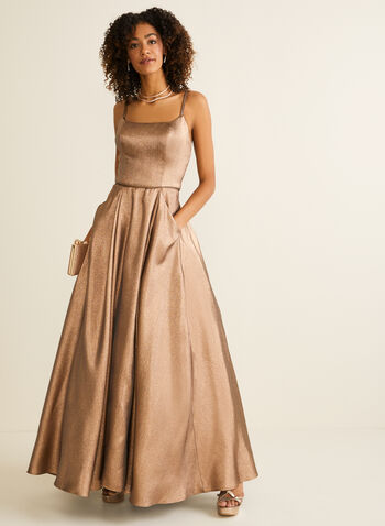 Metallic Glitter Ball Gown, Gold,  prom dress, ball gown, glitter, metallic, spaghetti straps, scoop neck, pockets, crinoline, spring summer 2020