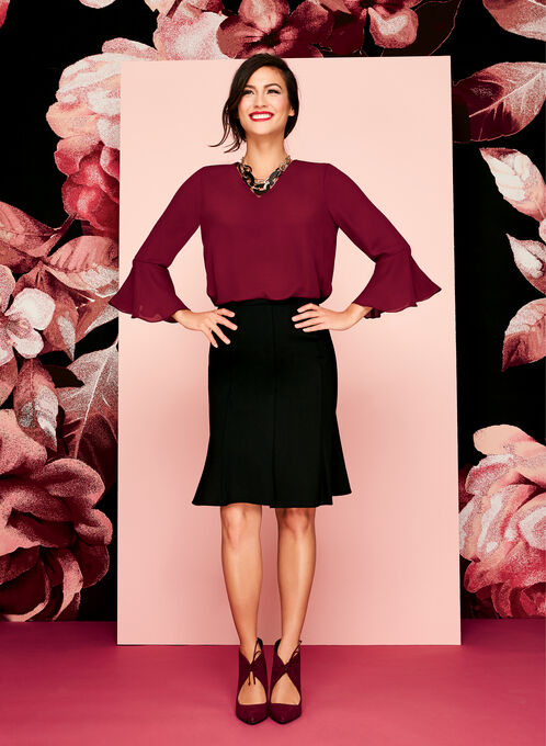 Bell Sleeve Chiffon Double Layer Top, Red, hi-res