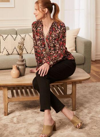 Blouse à col tunisien et détail contrastant , Multi,  printemps été 2021, haut, blouse, motif floral, manches longues élastiquées, volant, col tunisien, chaîne, cordon