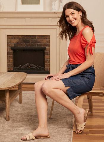 Haut à épaules ajourées et détail lien, Orange,  haut, top, T-shirt, manches courtes, épaules ajourées, fentes, noeud, coton, printemps été 2021
