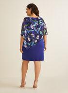 Robe poncho en mousseline fleurie, Bleu