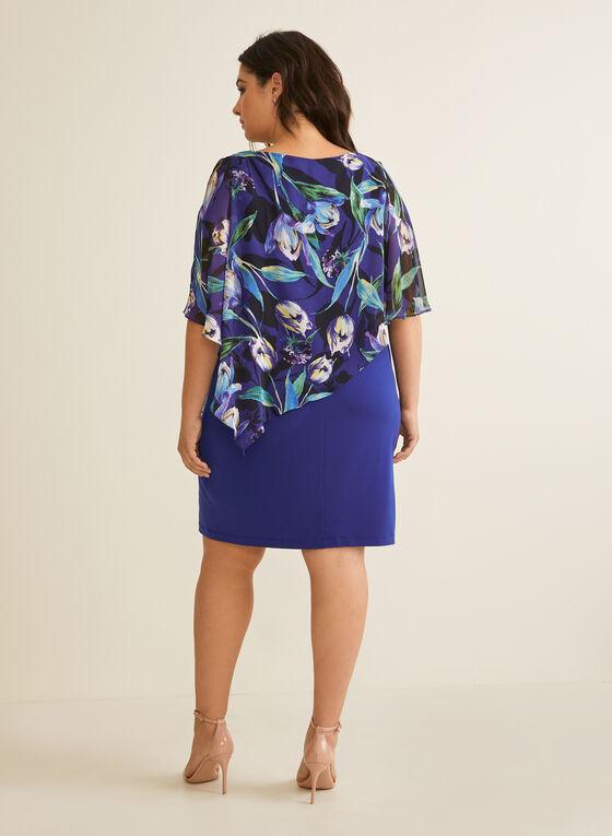 Floral Chiffon Poncho Dress, Blue