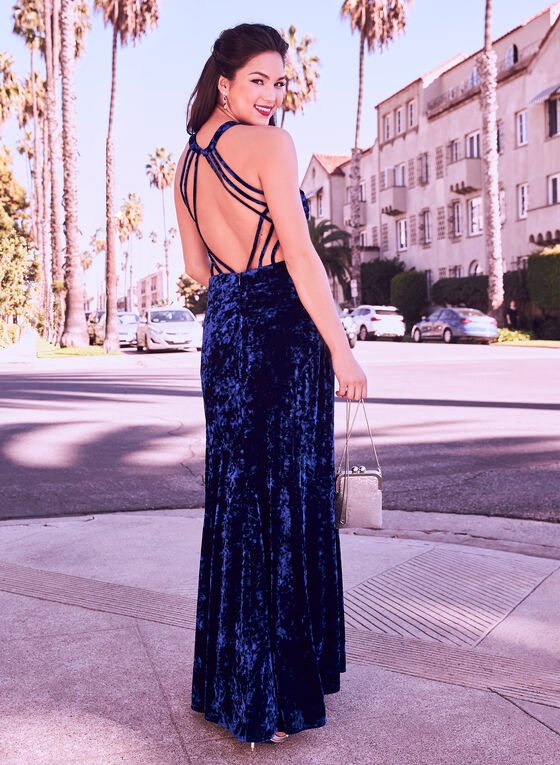 Crushed Velvet Gown, Blue, hi-res