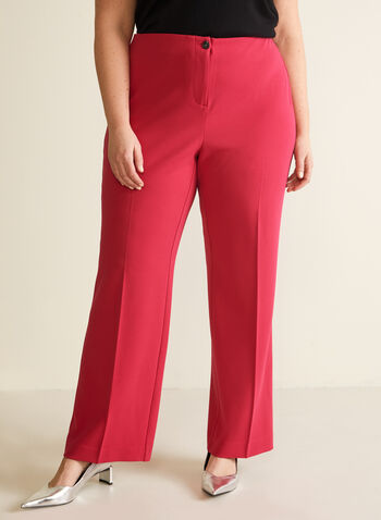 Modern Fit Wide Leg Pants, Pink,  pants, wide leg, mid rise, modern fit, crepe, pleats, spring summer 2020