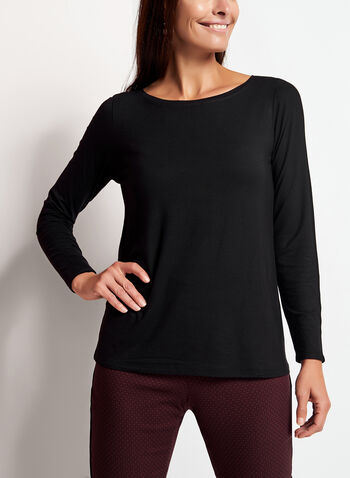 Long Sleeve Scoop Neck Top, , hi-res