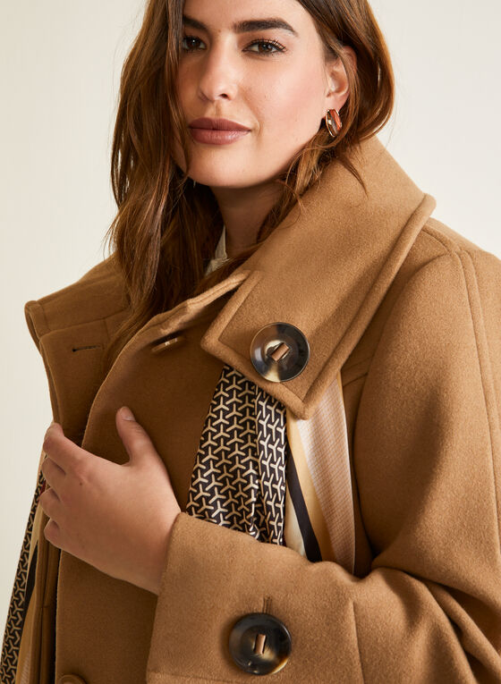 Stretch Faux Wool Button Detail Coat, Brown