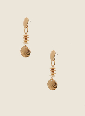 Seashell Dangle Earrings, Off White,  earrings, shell, metallic, spring summer 2020