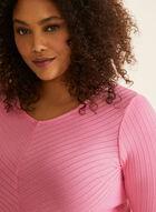 Haut en tricot côtelé texturé, Rose